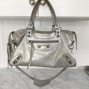 Balenciaga moto bag silver AUTHENTIC